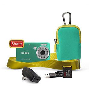 "Kodak M200 10MP Ultra Small Digital Camera Bundle w/ 3x Optical Zoom, 2.5"" LCD Display and Kodak Share Button, Green"