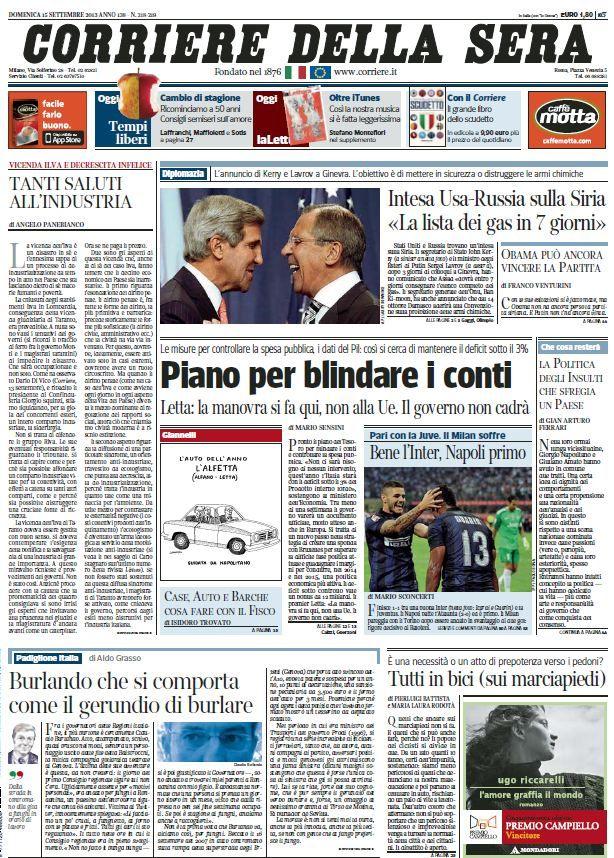 Il Corriere della Sera (15-09-13) Italian | True PDF | 72 pages | 18,2 Mb