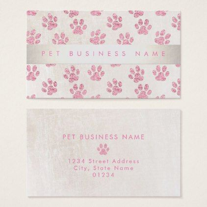 pet care pet services faux pink glitter paws business card - faux gifts style sample design cyo