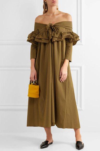 Isa Arfen - Off-the-shoulder Striped Cotton Dress - Sage green - UK12