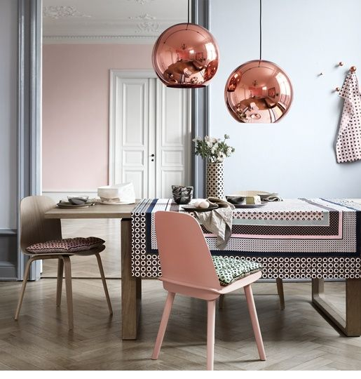 love colors...rose gold lampsModern Home Design, Tom Dixon, Dining Room, House Design, Copper, Living Room Design, Home Interiors Design, Design Home, Rose Gold