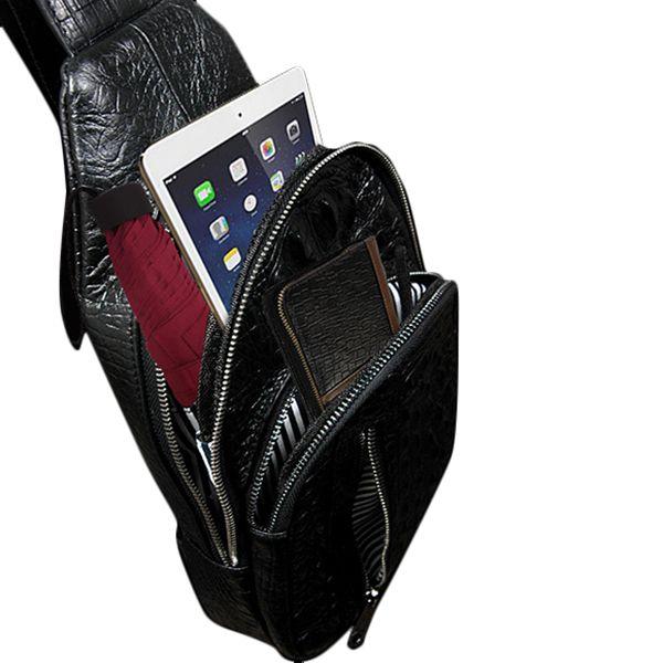 Genuine Leather Business Black Crocodile Stripe Bag