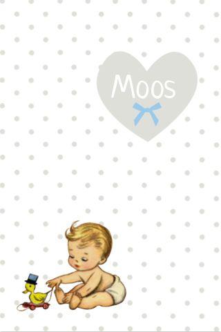Vintage geboortekaartje baby en polkadot