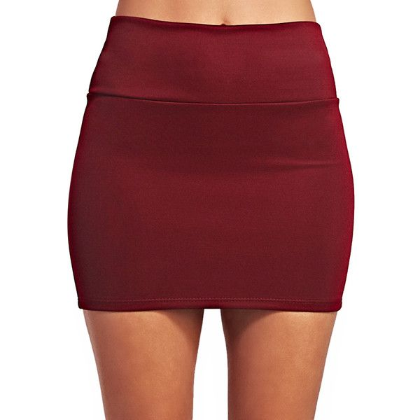 Solid Scuba Mini Skirt ($5) ❤ liked on Polyvore featuring skirts, mini skirts, wide skirt, wet seal skirts, stretchy skirts, stretch mini skirt and full length skirts