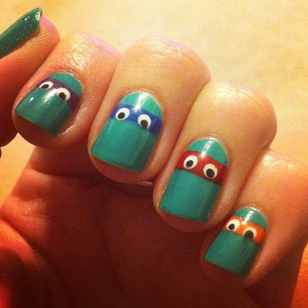 My best friend does the coolest nail art! Ninja Turtles!!!