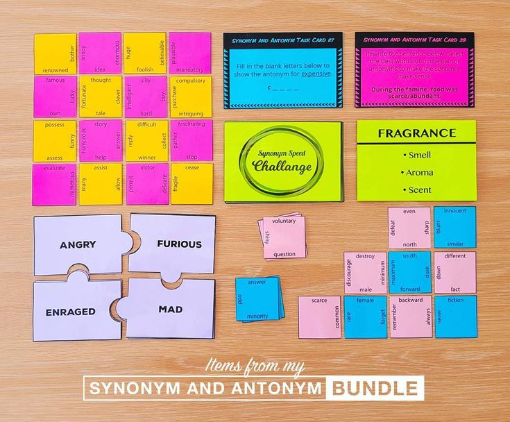 Synonym and Antonym Mega Bundle: 3 puzzles, 40 task cards, 70 synonym challenge cards and 5 worksheets. #synonyms #antonyms #literacyactivities