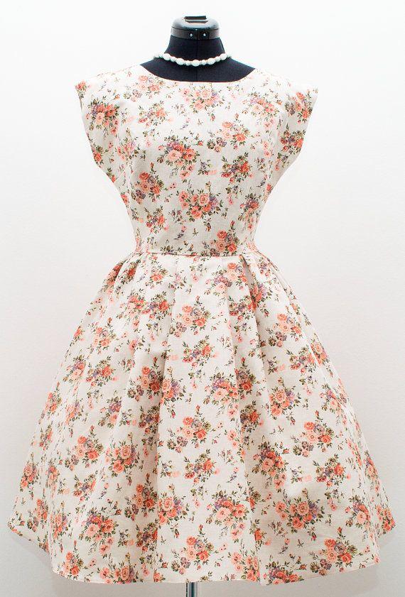 50s floral short sleeve bridesmaid dress 1950s by ElaSiromascenko
