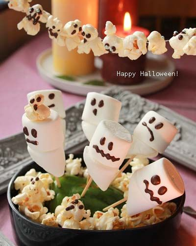 ハロウィン♪おばけマシュマロとおばけポップコーン : おいしっぽ(oishippo)の*か和いい*食卓