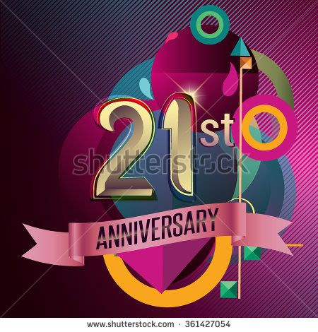 21st Anniversary, Party poster, party invitation - background geometric glowing element. Vector Illustration - stock vector