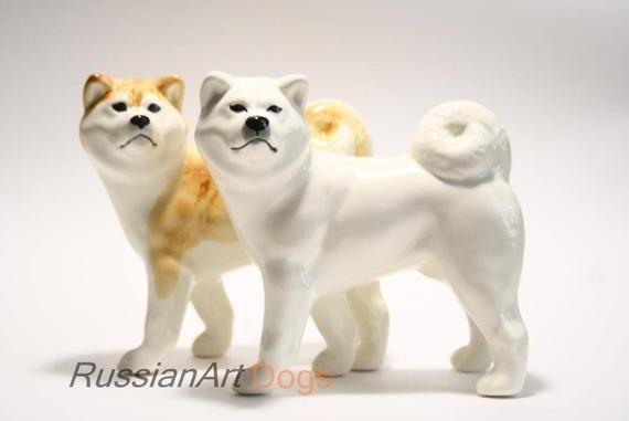 White Akita inu faience figurine dog figurine handmade