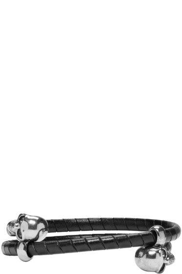 Alexander McQueen - ブラック ブレイド ダブル スカル ブレスレット