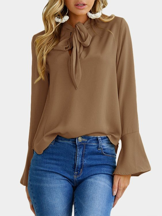 Coffee Self-tie Design Bell Sleeves Chiffon Blouse