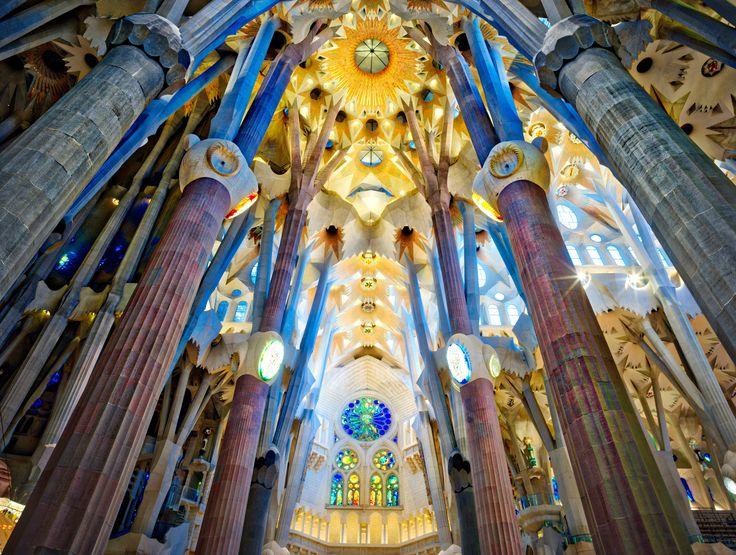 This is inside Gaudi's masterpiece here in Barcelona, the Sagrada Familia.