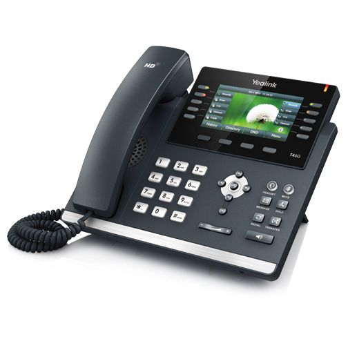 The SIP-T46G is Yealink latest revolutionary IP Phone for executive users and busy professionals. New designs appears the commerce, with highresolution TFT color display, delivering a rich visual experience. Yealink Optima HD technology enables rich, clear, life-like voice communications.