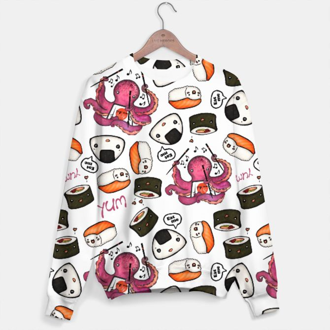 Cute sushi Sweater #omnomnom #sushi #kawaii #Japanesefood #cute #pattern #japońskie_jedzenie #uroczy #wzór #żywność #fallenbrick #bags #sale #shopping #odzieży #grafika #sweater  #clothing #prints #design #fallenbrick #yummy