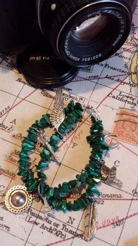 Malachite Luck bracelet. A one off bracelet by Bird of Prey Jewellery. www.birdofprey.co.nz