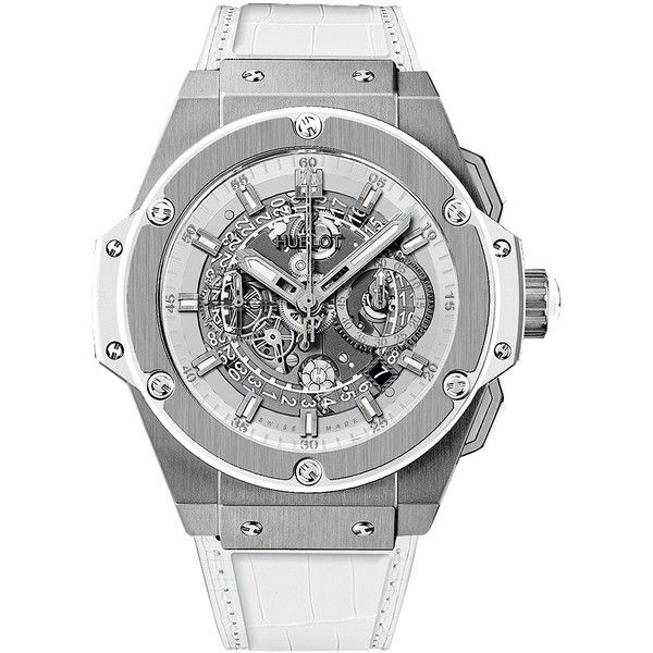 Hublot King Power UNICO Chronograph 48mm 701.ne.0127.gr Watch (23,995 CAD) ❤ liked on Polyvore featuring men's fashion, men's jewelry, men's watches, titanium, hublot mens watches, mens chronograph watches, mens diamond bezel watches and mens white watches