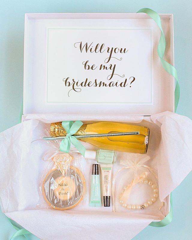 Will you be my bridesmaid? Box, Trauzeuginnen Geschenk, Maid of honour, Box mit Sekt, Armband, Keks, Nagellack und Lipgloss, Hochzeit, mint und rosa