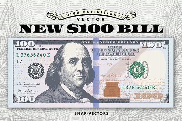 Vector New 100 Bill Template Money Logo Bill Template 100 Dollar Bill