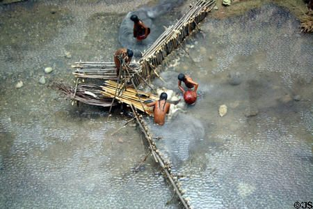 early America | Diorama depicting early native American fishing weir in Qu'Appelle ...