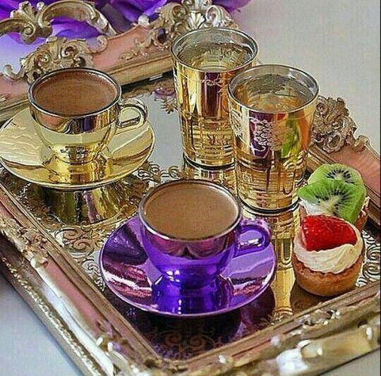 Šálky na kávu *  porcelán se zlatým a fialovým smaltem ♥♥♥