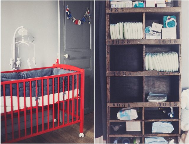 a legit baby boy's room. loving the vintage shelf for diapers-n-things.
