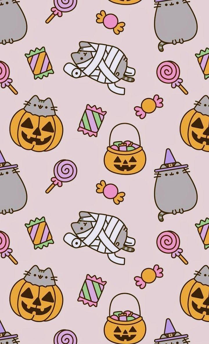 Pusheen Goes Trick Or Treating Halloween Wallpaper Halloweenwallpaper Halloween Wallpaper Halloween Wallpaper Iphone Pusheen Cute