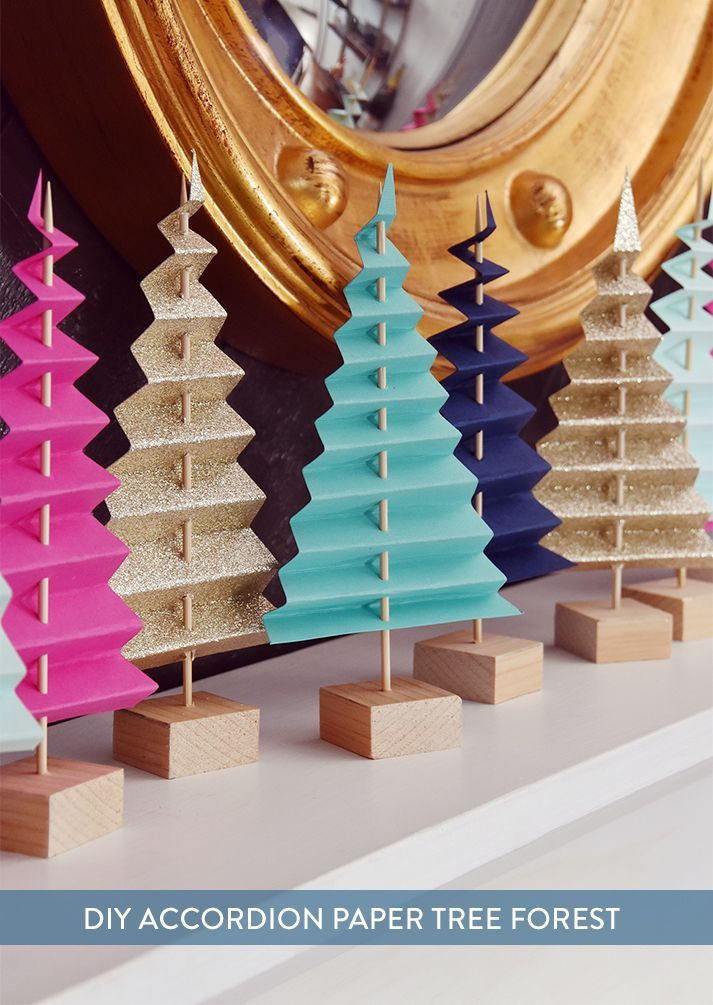 unglaublich Easy Mantel Idee: Bunter Papierbaumwald