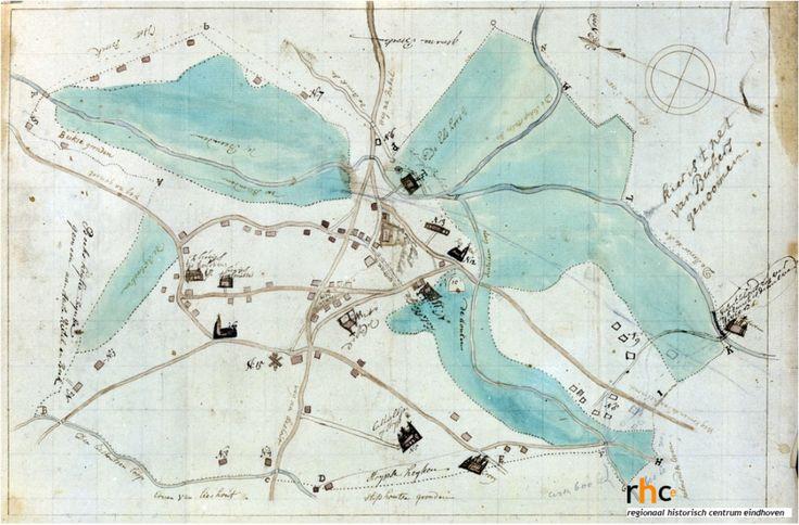Reproductie van een kaart van Aarle-Rixtel met daarop aangegeven de grenzen van gemeint, wegen, wateren en de belangrijkste gebouwen. Vervaardigd in 1719 door P. Aldenzee. Broek, Jozef van den (fotograaf) Datering1975