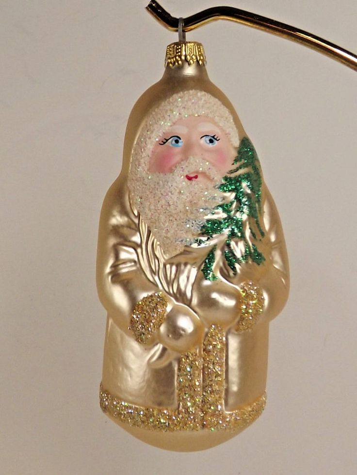 Lauscha Glas Santa Ornament Blown Glass Hand Painted Light Gold Germany Glitter…#lauschaChristmasornament #SantaFatherChristmasornament