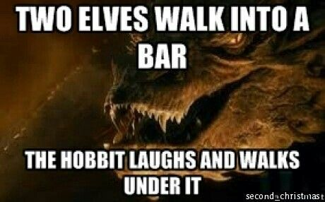 Frodo laughs at the Elves' clumsiness.