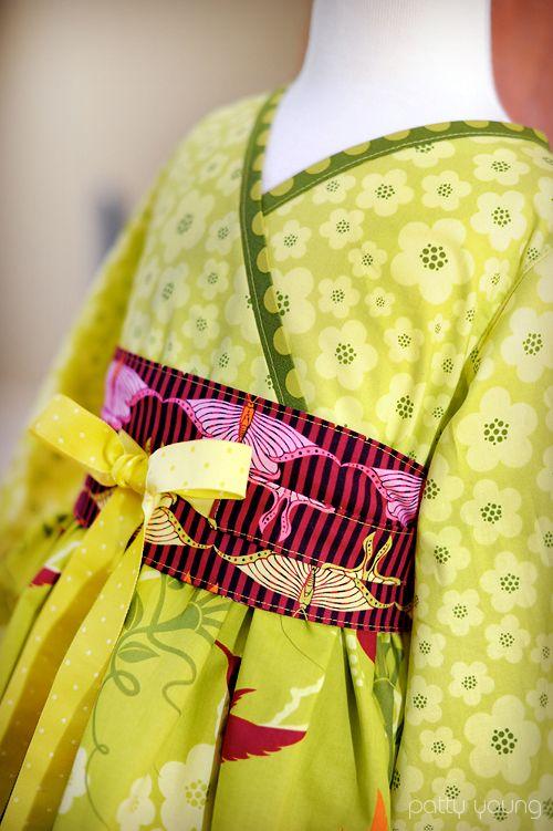 Kimono dress from the Kyoko pattern by Modkid