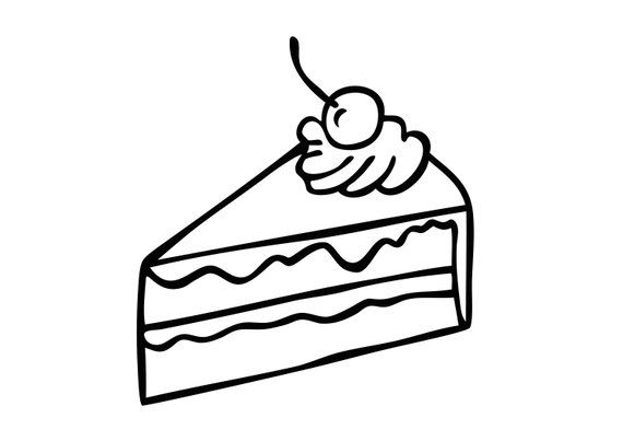 Slice Of Cake Illustration Black Line Vector Drawing Cherry Cream Pie Clip Art Stock Image Digital File Download Cake Illustration Vector Drawing Drawings