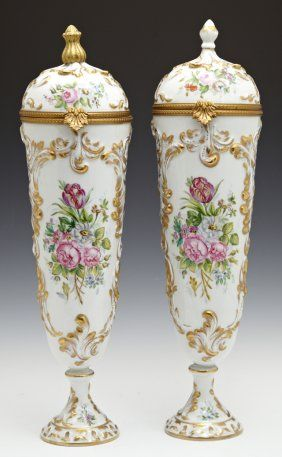 Pair Of Hand-painted Limoges Porcelain Covered Vases,