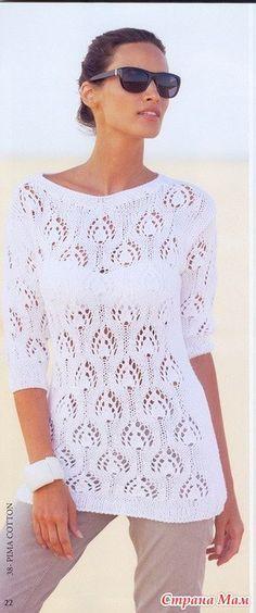 Белоснежный пуловер с ажурным узором - Вязание - Страна Мам
