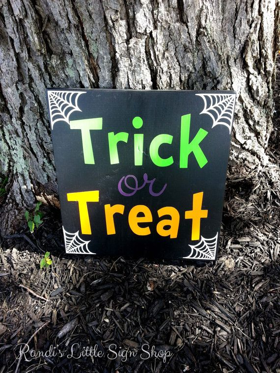 Trick or Treat Haloween Decor Painted Sign by RandisLittleSignShop, $25.00