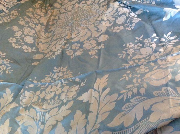 damasco san leucio | Antique Italian Blue Silk Damask Bedspread San Leucio Damasco