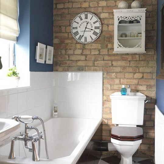 brick bathroom wall wooden toilet seat - Country Bathrooms Designs