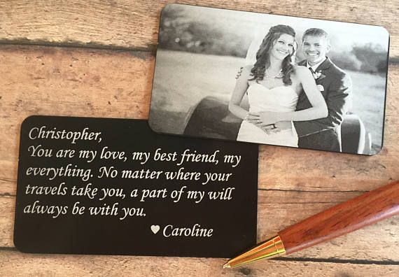 SALE Engraved Picture Wallet Card  Photo Wallet Insert