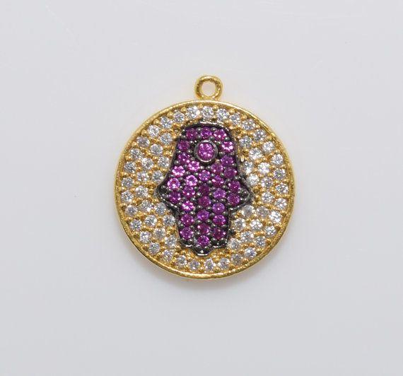 Hamsa Fuchsia Cubic Round Pendant, Jewelry Supplies, Jewelry Making, Polished Gold - 1pcs / UT0004-PG