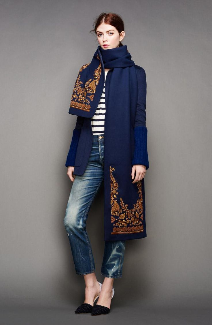 royal blue coat with a matching scarf // J.Crew #winter #style