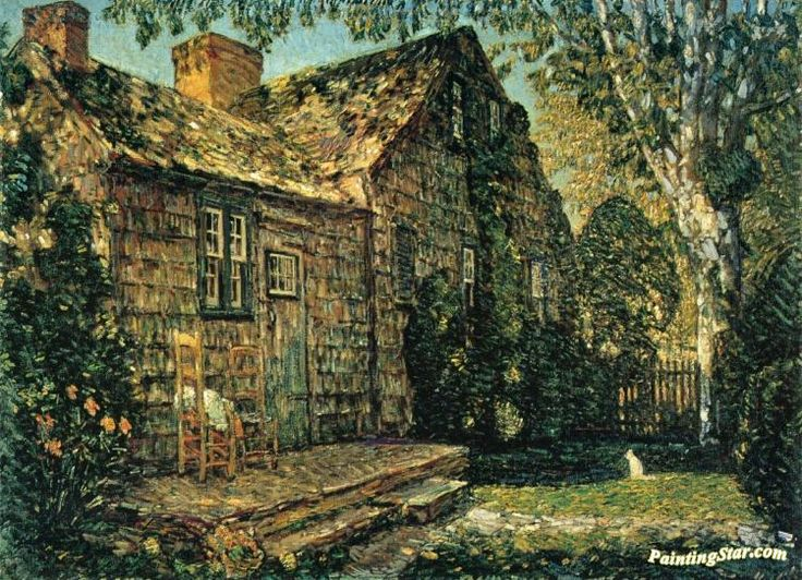 Little Old Cottage, Egypt Lane, East Hampton Artwork by Frederick Childe Hassam Hand-painted and Art Prints on canvas for sale,you can custom the size and frame