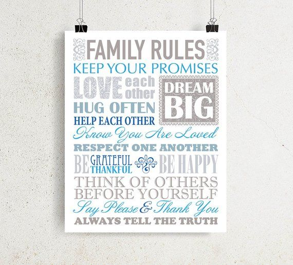 Family Rules Sign Positive Quotes Printable Wall Art For Diy Etsy Family Rules Sign Printable Wall Art Family Rules