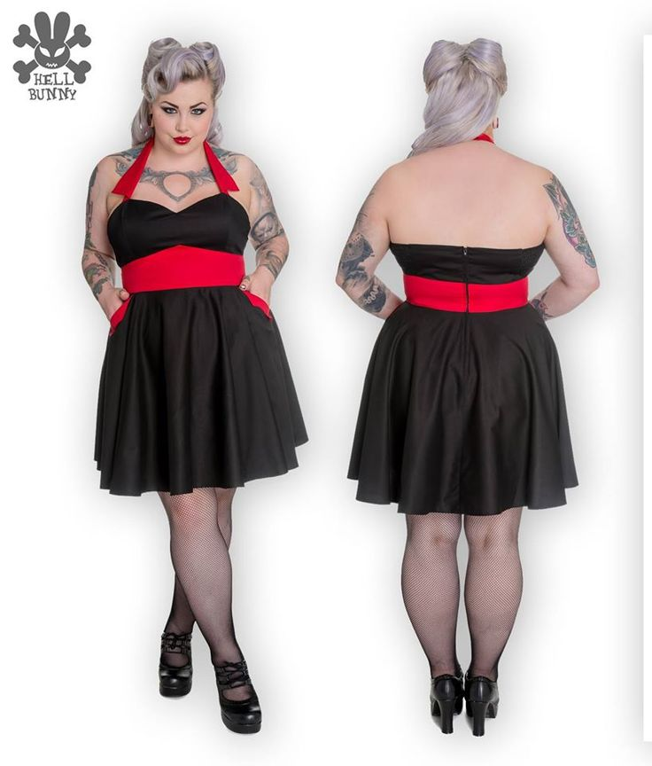 Feel vampy in this killer mini dress!  It features a halter strap with pointed lapels, sweetheart neckline, and a full mini skirt.  It is colour blocked black and red, but the best part of this dress is the pockets - we LOVE pockets! http://www.sweetechoplus.com/dresses/hell-bunny/vampiress-mini-dress.html