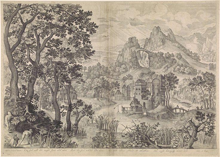 Anonymous | Landschap met eendenjacht, Anonymous, 1600 - 1706 | Berglandschap met een kasteel. Op de linkervoorgrond twee mannen die jagen op watervogels.