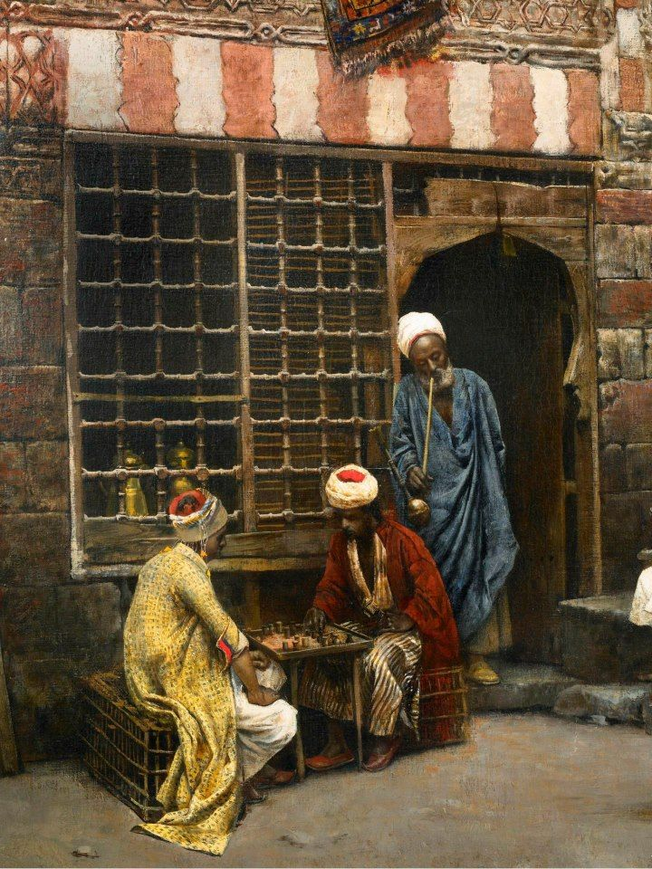 "Details from "" A game of chess in Cairo street 1879 ""  BY Edwin Lord Weeks (American, 1849-1903) Oil on canvas"