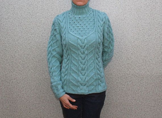Hand Knit Women's turtleneck sweater made to order hand
