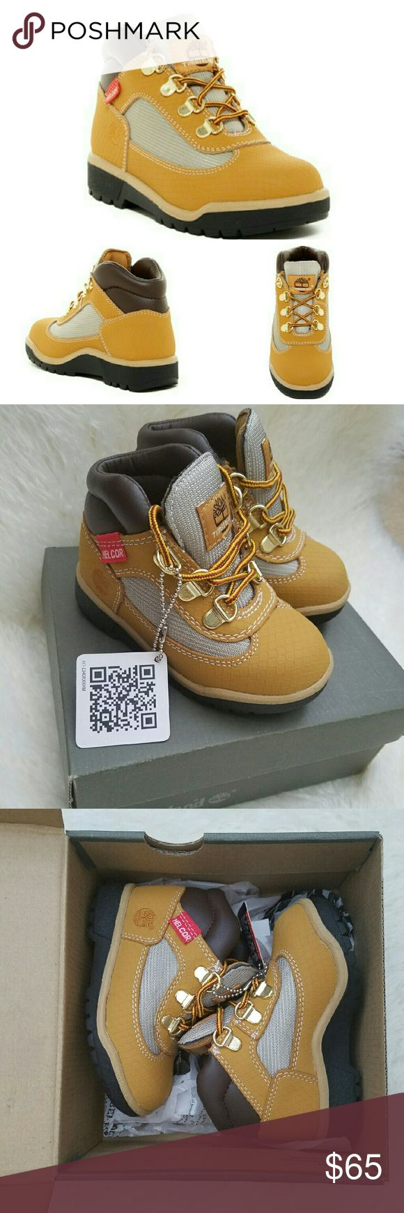 """Toddler Timberland Boots """"Give their little feet the coverage they need with the Timberland Field Boot Scuff Proof Boot. This kids' boot is constructed from a combination of waterproof, highly scuff-resistant Helcor? leather and breathable mesh textile with a D-ring lace closure and padded tongue and collar. The EVA footbed supports every step; the textile lining and sockliner move move moisture away from the foot."""" Non-marking sole. Leather and textile upper, manmade sole (info from…"""