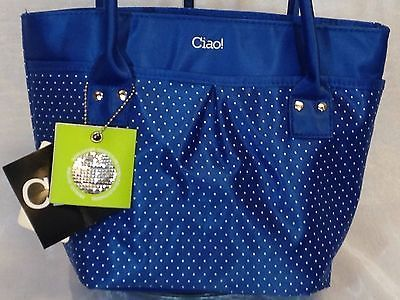 Lunch Bag Insulated  Box Handbag For Woman Blue With White Polka Dots NWT
