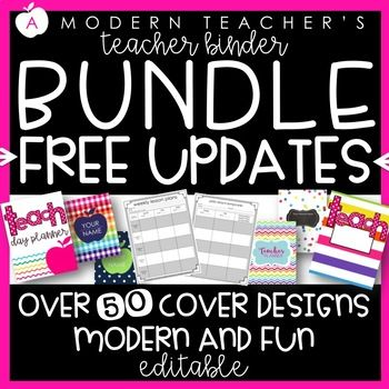Teacher Binder Bundle with everything you need! Classroom organization and lesson planning at your fingertips. A Modern Teacher's teacher binder is editable and customizable, ready for you to personalize. Save time with all the paperwork organization done for